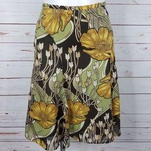 Ann Taylor Loft Floral Skirt Lined Size 6 Side Zip